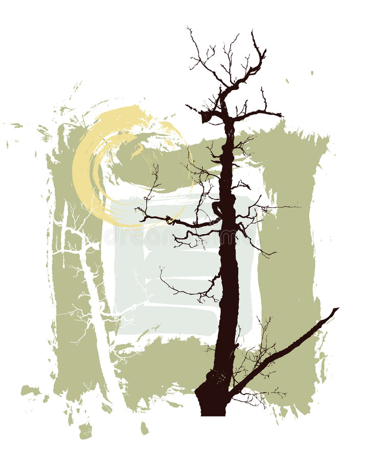 Silhouettes of trees on a grunge background stock illustration