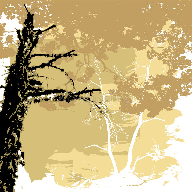 Silhouettes of trees on a grunge background vector illustration