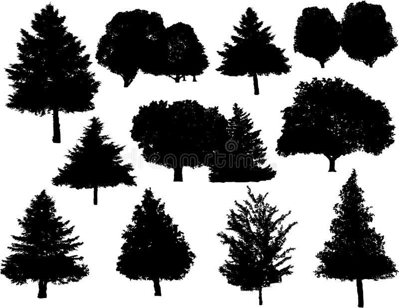 silhouettes treevektorn stock illustrationer