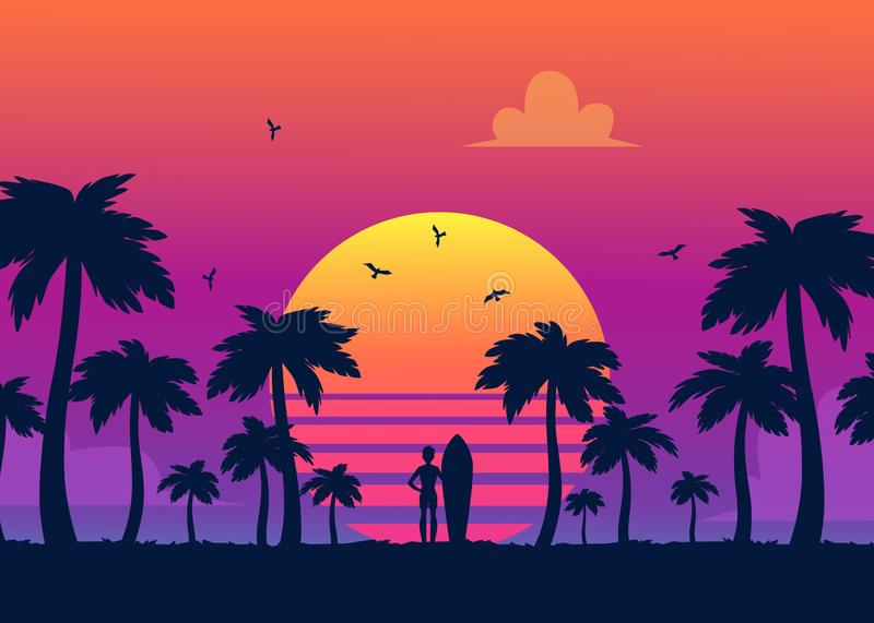 Silhouettes of tropical summer palm trees, surfer and the beach on the background of a gradient sunset. royalty free illustration