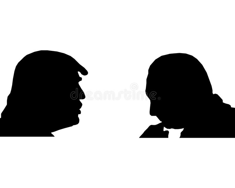 Silhouettes of Trump and Putin. On a white background vector illustration