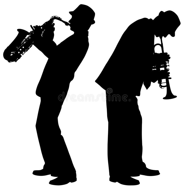 Silhouettes of trumpet player royalty free illustration