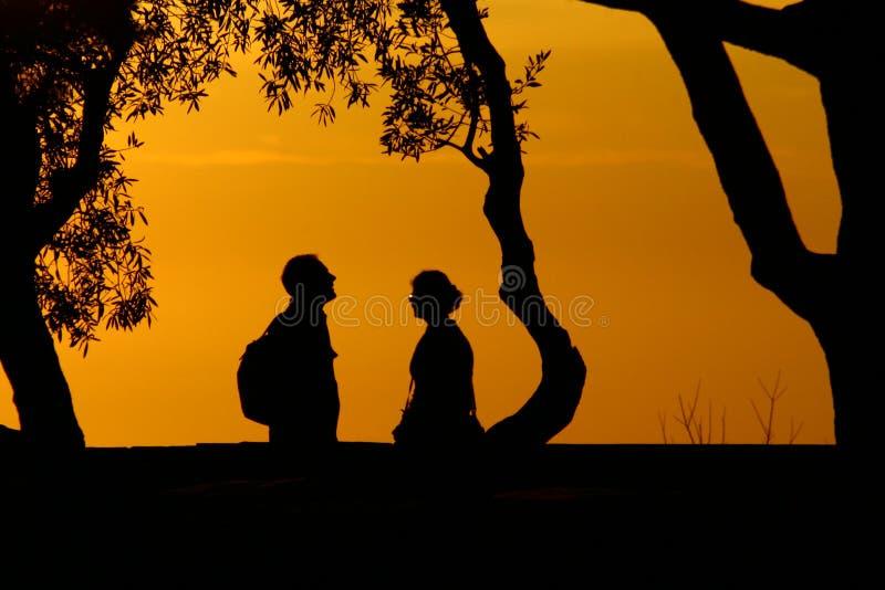 Silhouettes Två Royaltyfri Bild
