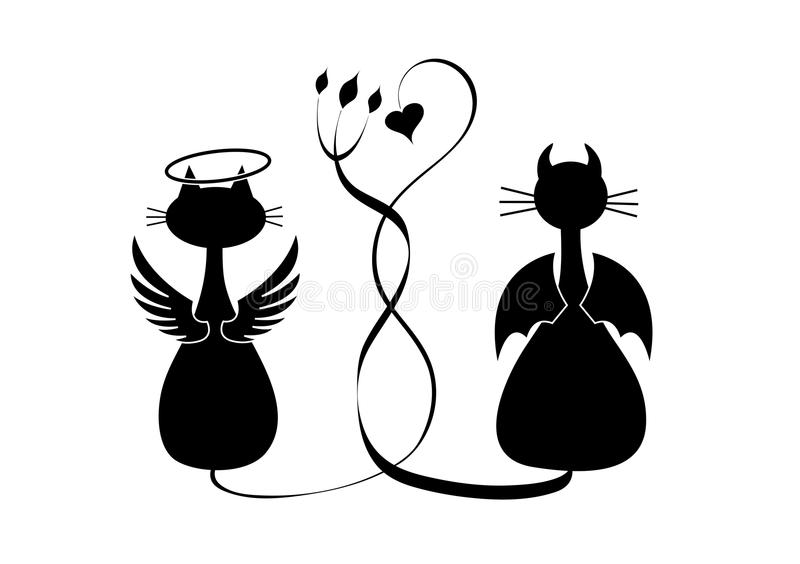 Silhouettes of two cats. Angel and devil royalty free illustration