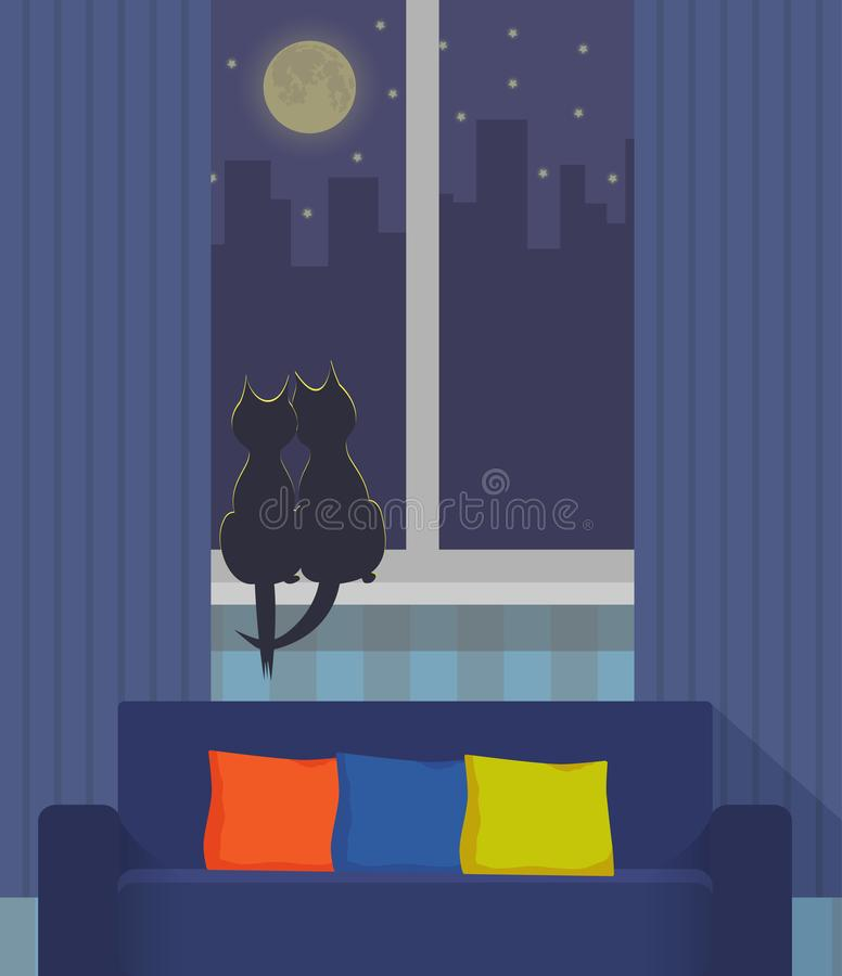 Silhouettes of two cats sitting on a windowsill under the light of the moon. Night city outside the window. Cozy interior with sof vector illustration