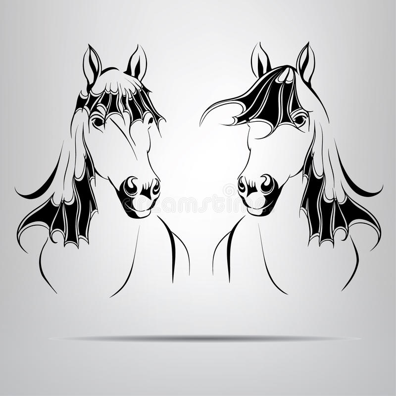 Silhouettes Of Two Horses. Vector Illustration Royalty Free Stock Photos