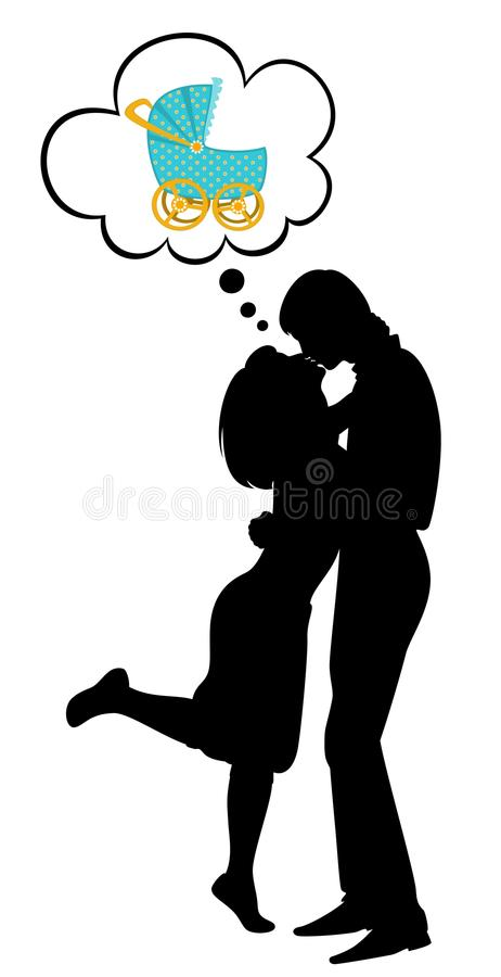 Silhouettes of two lovers