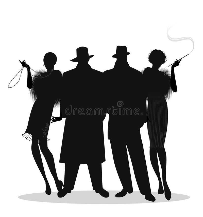 Silhouettes of two men and two flapper girls 20s style isolated. On white background. Roaring twenties vector illustration