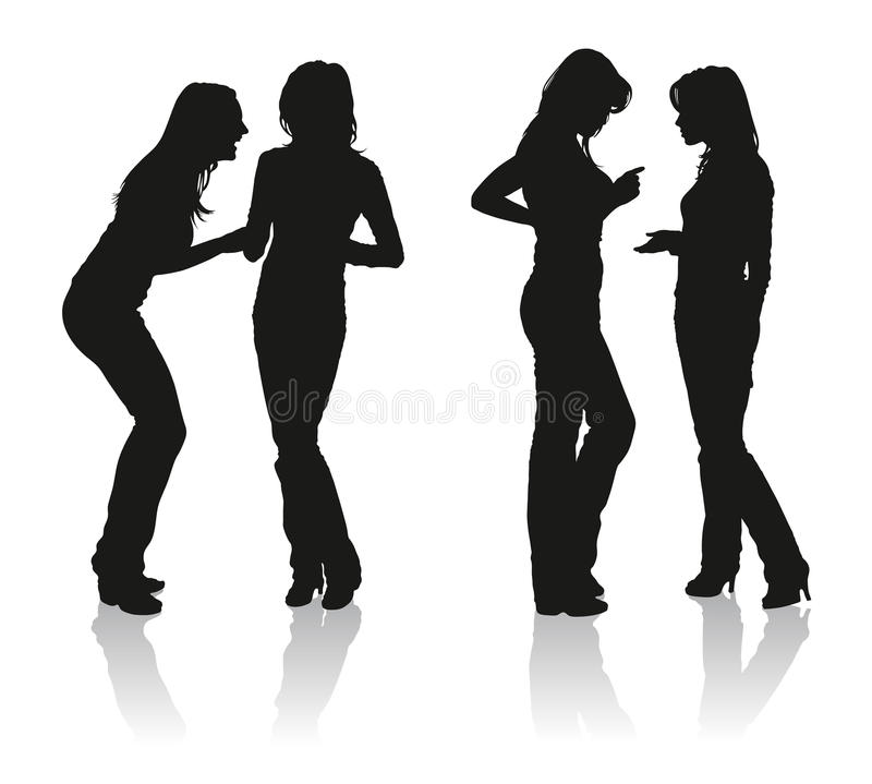 Silhouettes of two young women royalty free stock photography
