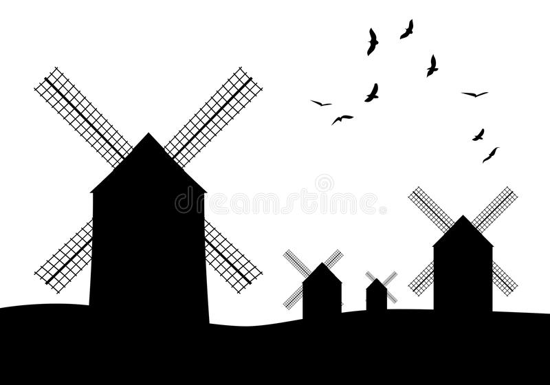 Silhouettes of typical Spanish windmills and birds on white background vector illustration