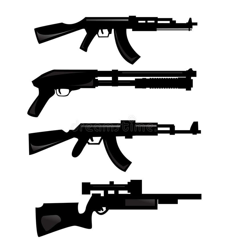 silhouettes vapen royaltyfri illustrationer