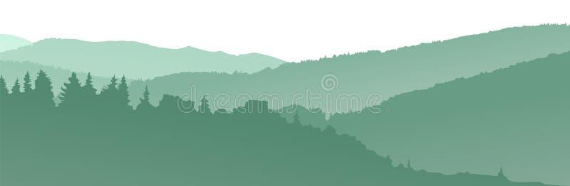 Silhouettes vertes de montagnes abrégez le fond image stock