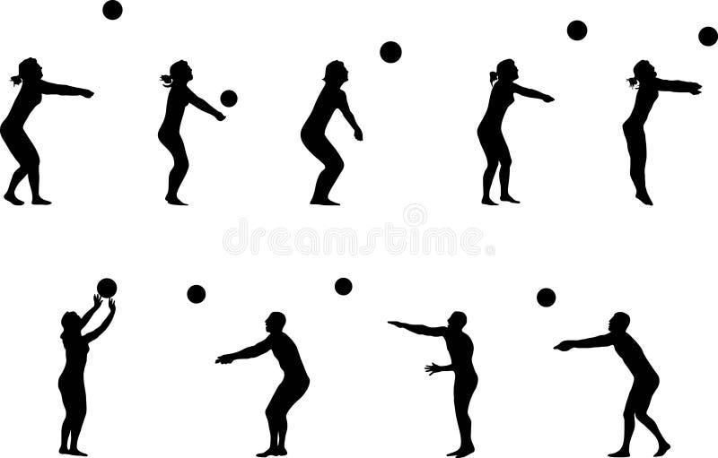 silhouettes volleyboll royaltyfri illustrationer
