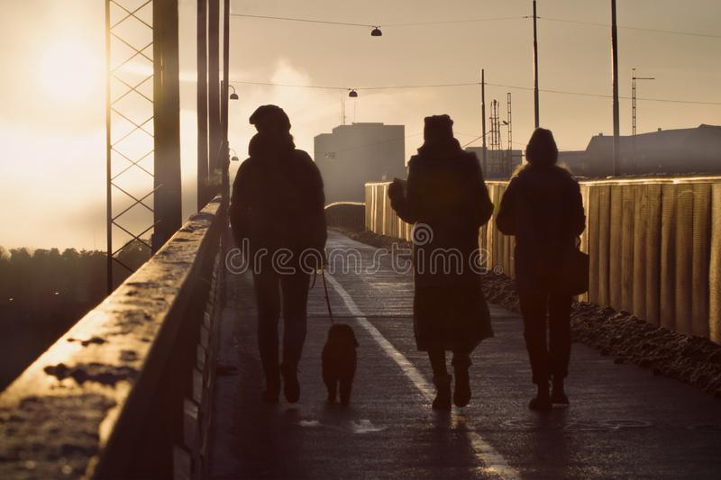 Silhouettes of walking people and dog on a bridge in winter sunset. Three people and a dog walking into the golden light from a setting winter sun. Deep stock photo