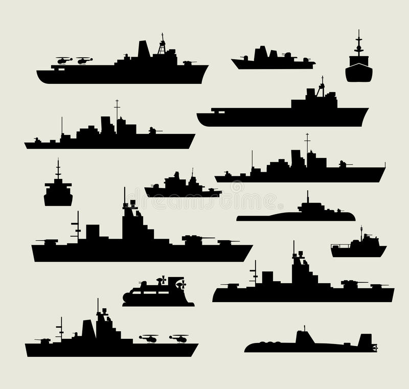 Silhouettes of warships vector illustration