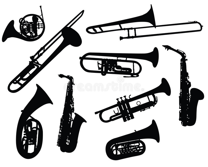 Silhouettes of wind instruments vector illustration