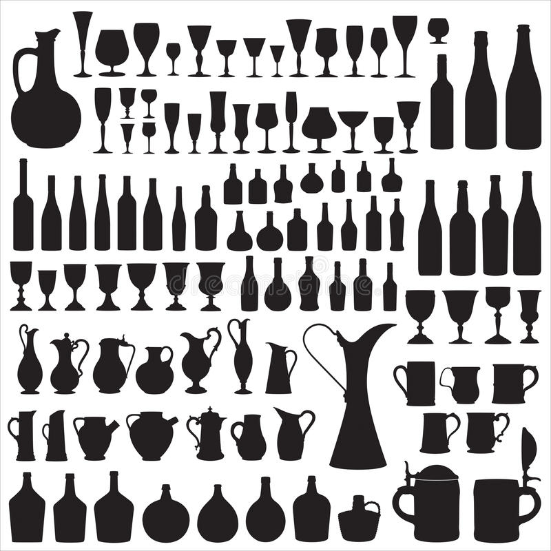 silhouettes wineware royaltyfri illustrationer