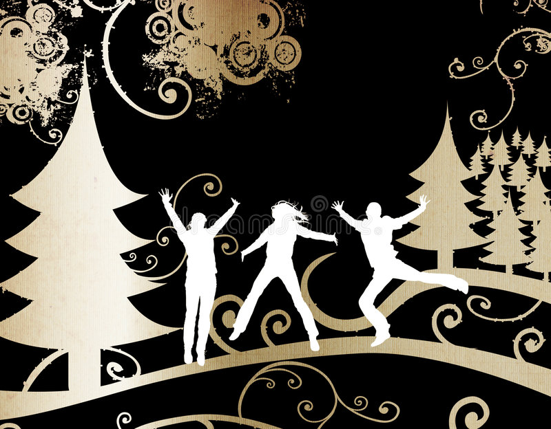 Silhouettes in winter stock illustration
