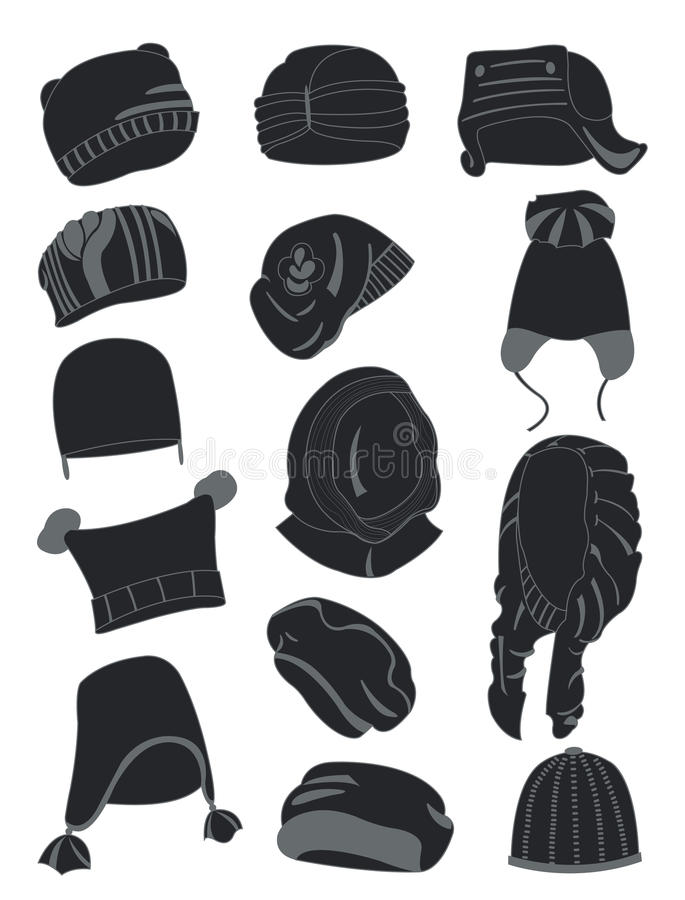 Silhouettes of winter hats royalty free illustration
