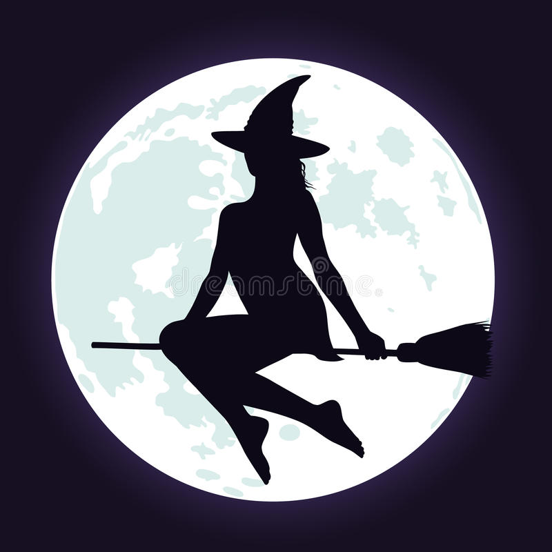 Silhouettes of witch on broomstick and moon. royalty free stock photography