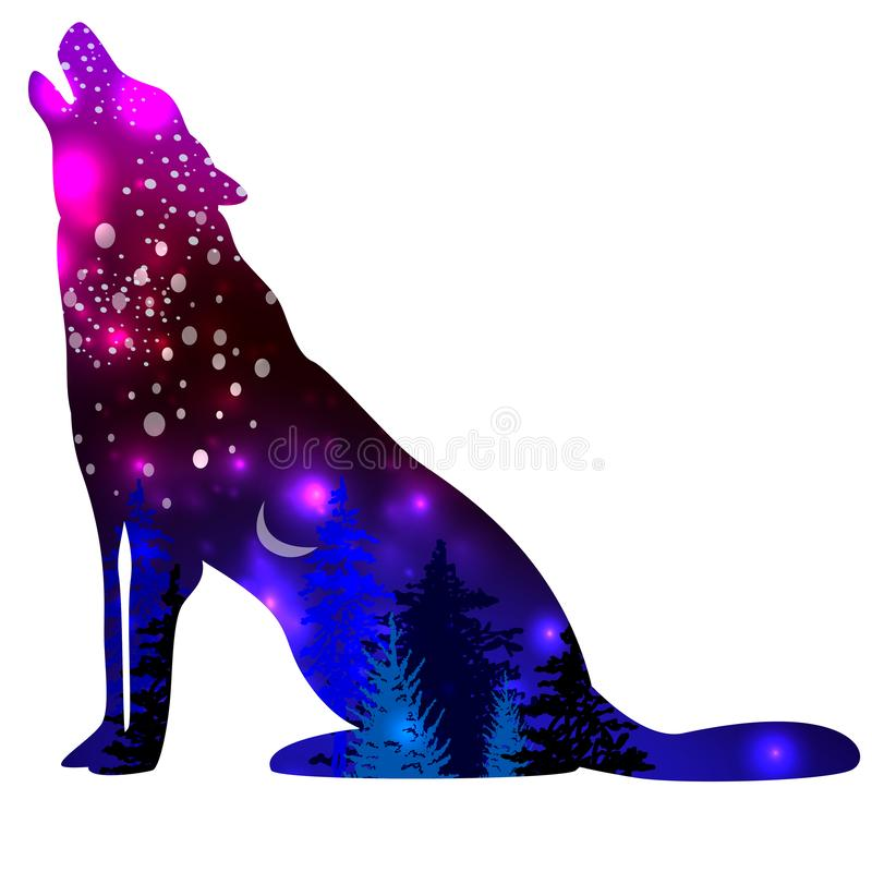 silhouettes wolf space galaxy background effect silhouettes wolf space galaxy background effect inside white 162348607