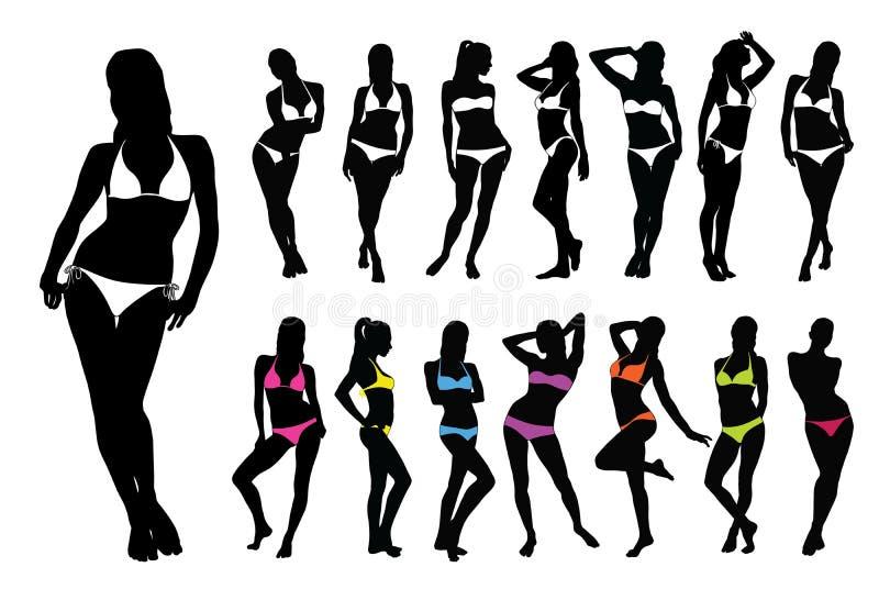 Silhouettes of woman in bikini. stock photos
