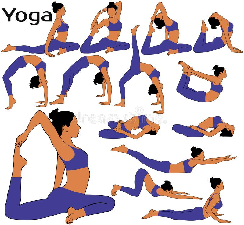 Silhouettes of woman with in costume doing yoga exercises. royalty free stock photo