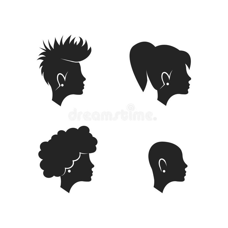 Silhouettes of woman head. royalty free illustration