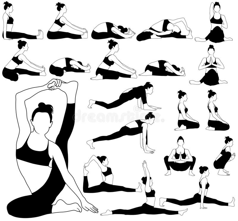 Silhouettes of woman stretching in different yoga poses. royalty free stock images