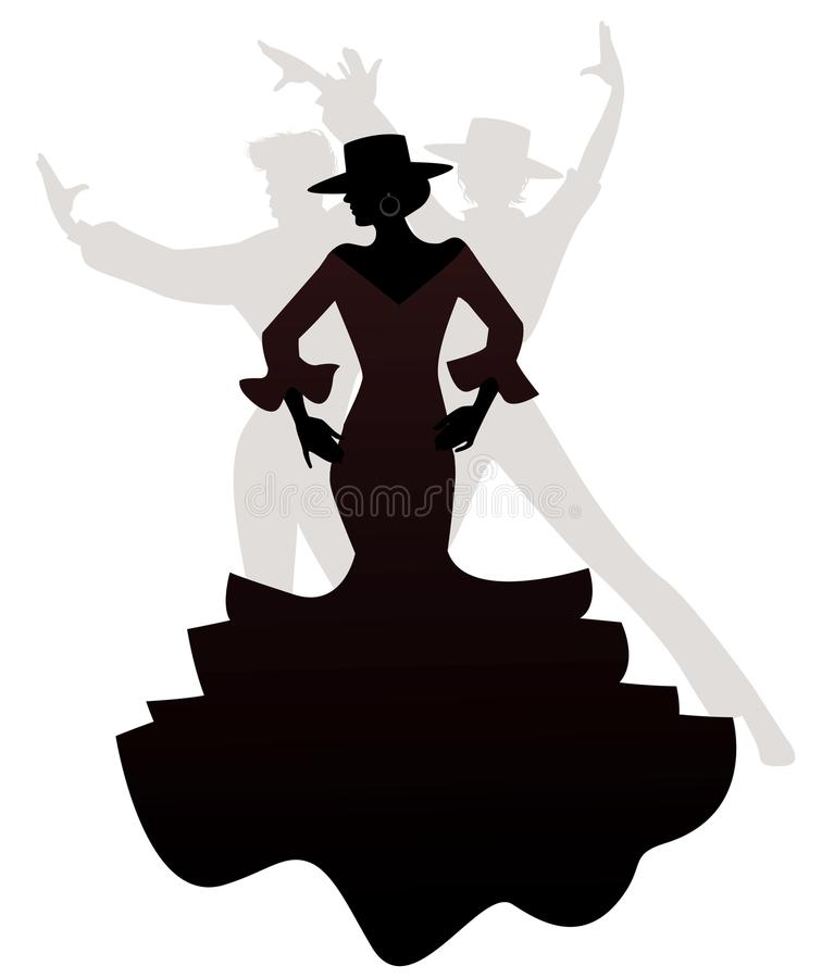 Silhouettes of woman and two men Spanish flamenco dancers. Silhouettes of woman and two men Spanish flamenco dancers vector illustration