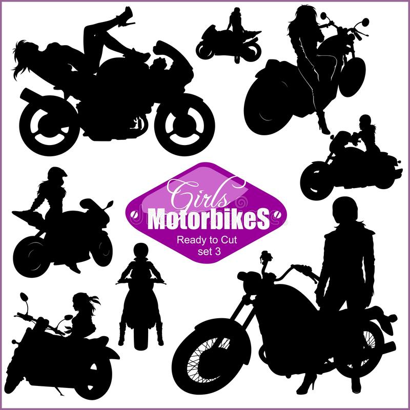 Free Silhouettes - Womans And Motorbikes - Vector Set. Isolated On White. Stock Photos - 139896273