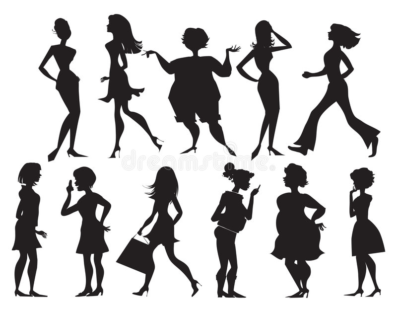 Silhouettes of women stock illustration