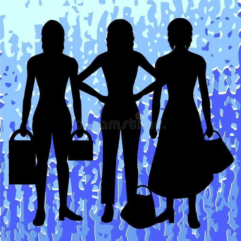 Silhouettes of women stock illustration