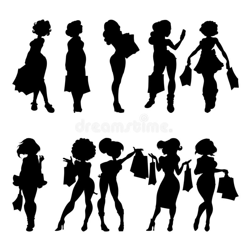 Silhouettes of women with bags. A set of silhouettes of girls shoppers. Buyers isolated on white background. stock illustration
