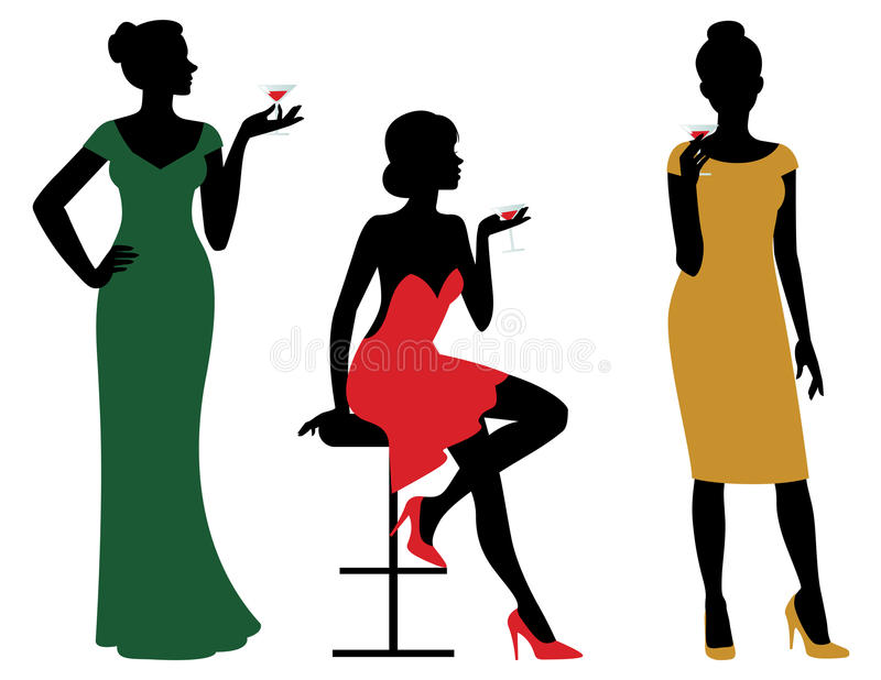 Silhouettes of women dressed in evening dress holding wine glass vector illustration