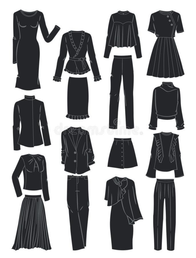 Silhouettes of women`s clothes for spring stock illustration