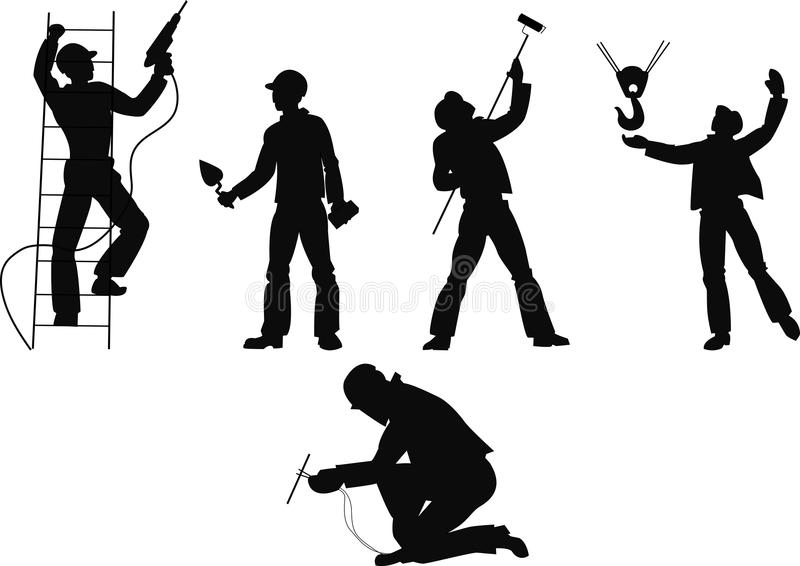 Download Silhouettes Worker To Building Profession Stock Vector - Image: 19091519