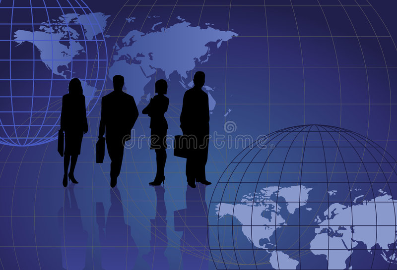 Silhouettes and World Maps royalty free illustration