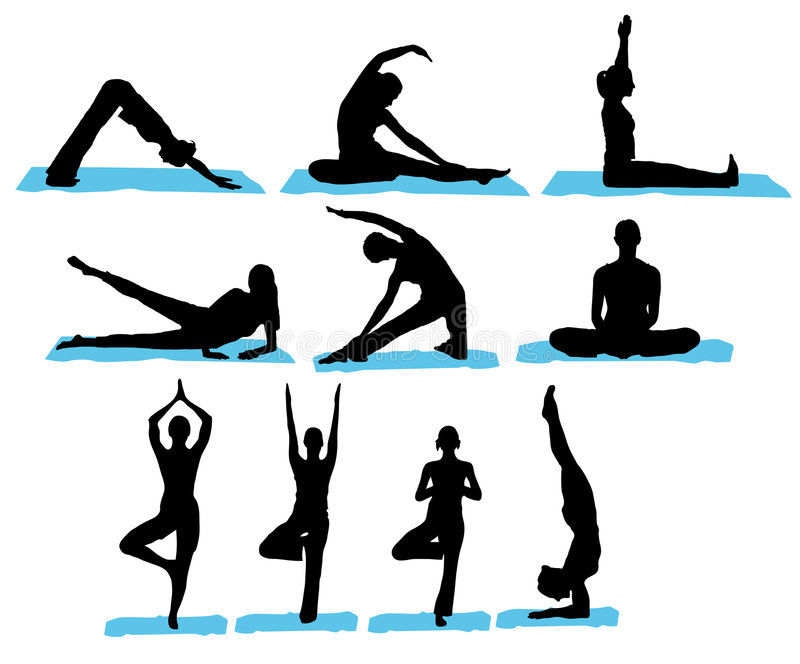 silhouettes yoga royaltyfri illustrationer