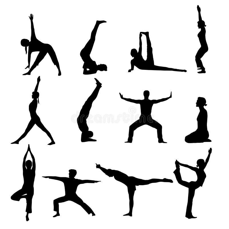 silhouettes yoga vektor illustrationer
