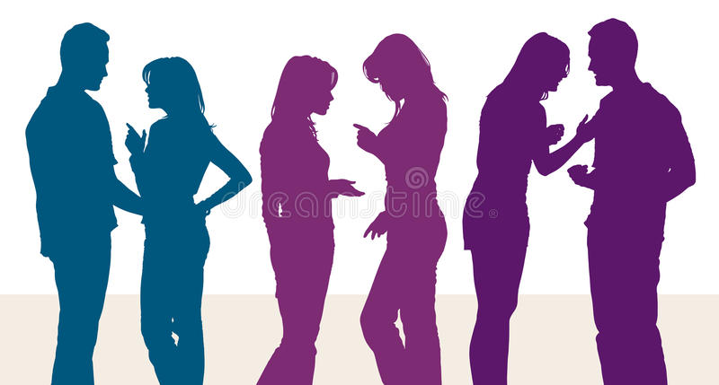 Silhouettes of young women and man arguing with each other royalty free stock image