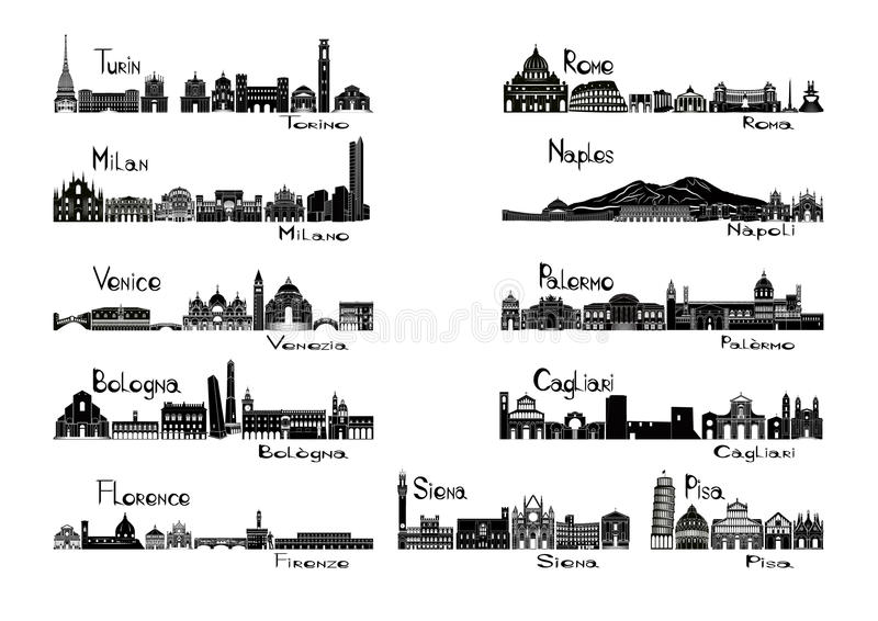 Silhouettesiktar av 11 städer av Italien vektor illustrationer