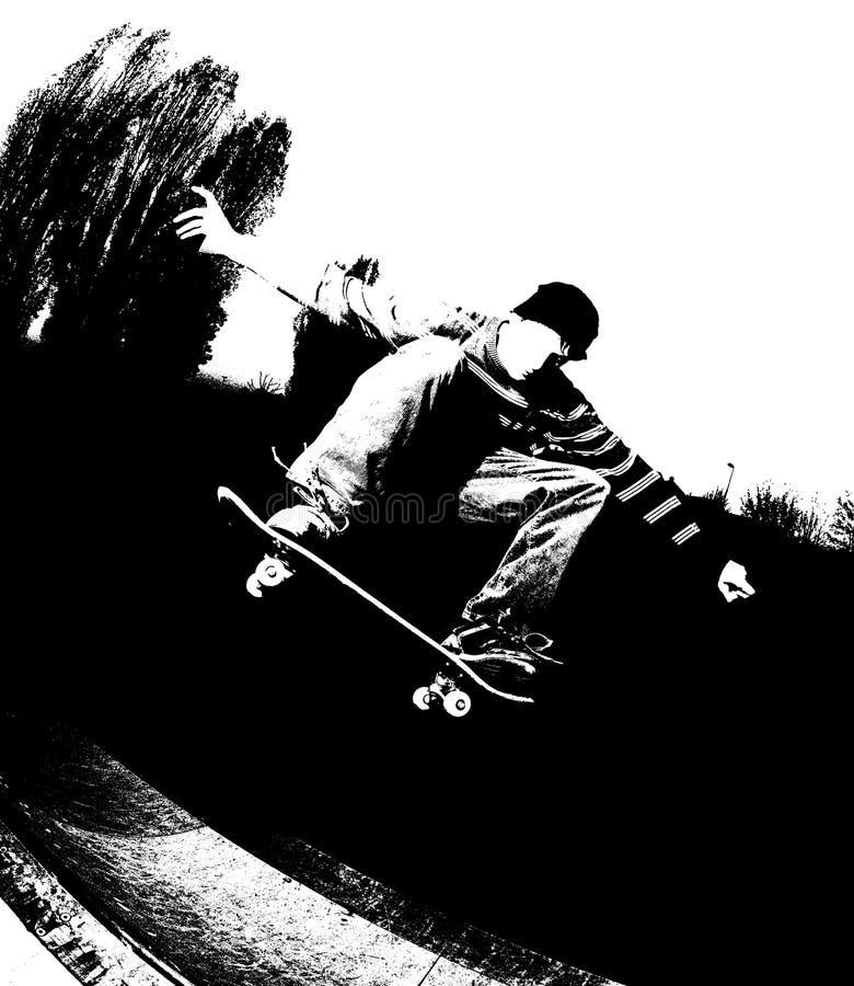 silhouetteskateboarding royaltyfri illustrationer