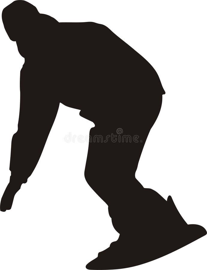 silhouettesnowboarder royaltyfri illustrationer