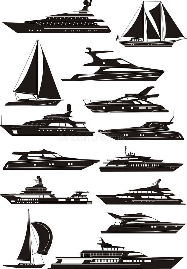 silhouettesyacht royaltyfri illustrationer