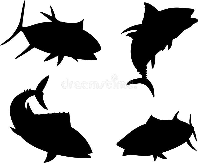 silhouettetonfisk royaltyfri illustrationer