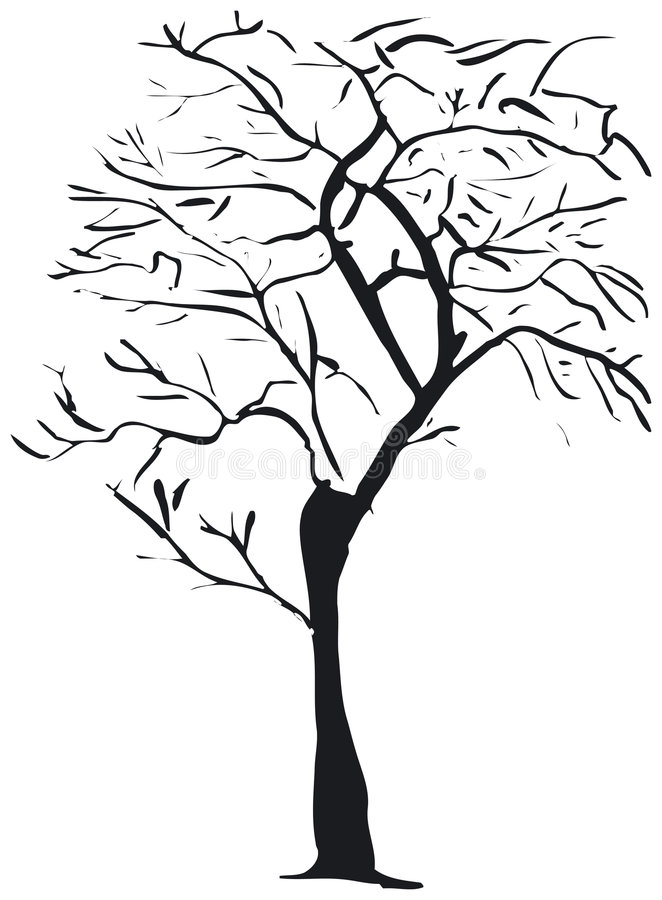 Download Silhouettetree vektor illustrationer. Illustration av solitaire - 992638