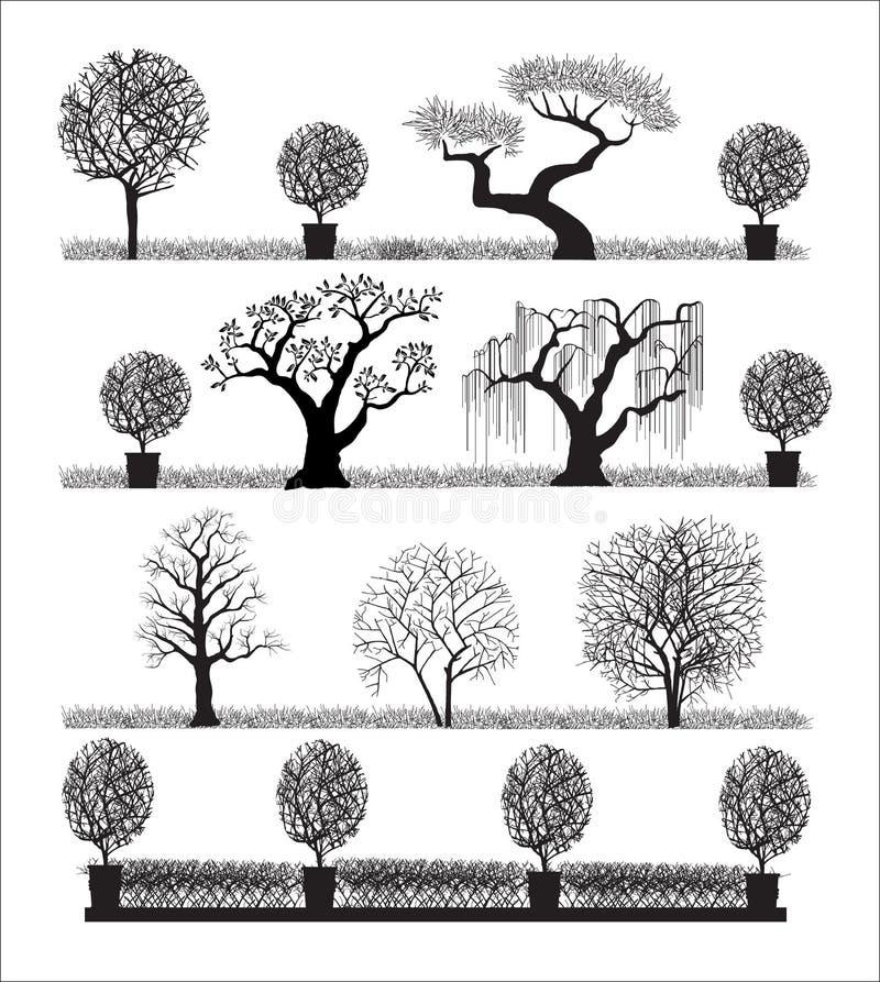 silhouettetrees royaltyfri illustrationer