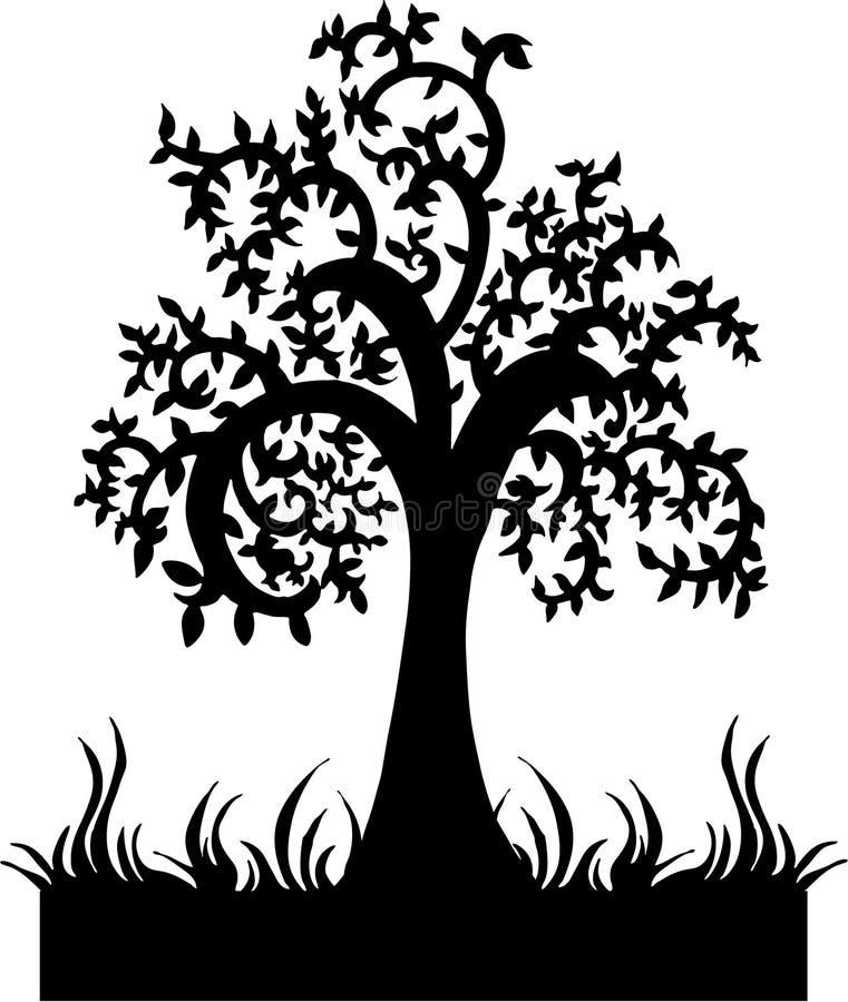 silhouettetreevektor royaltyfri illustrationer