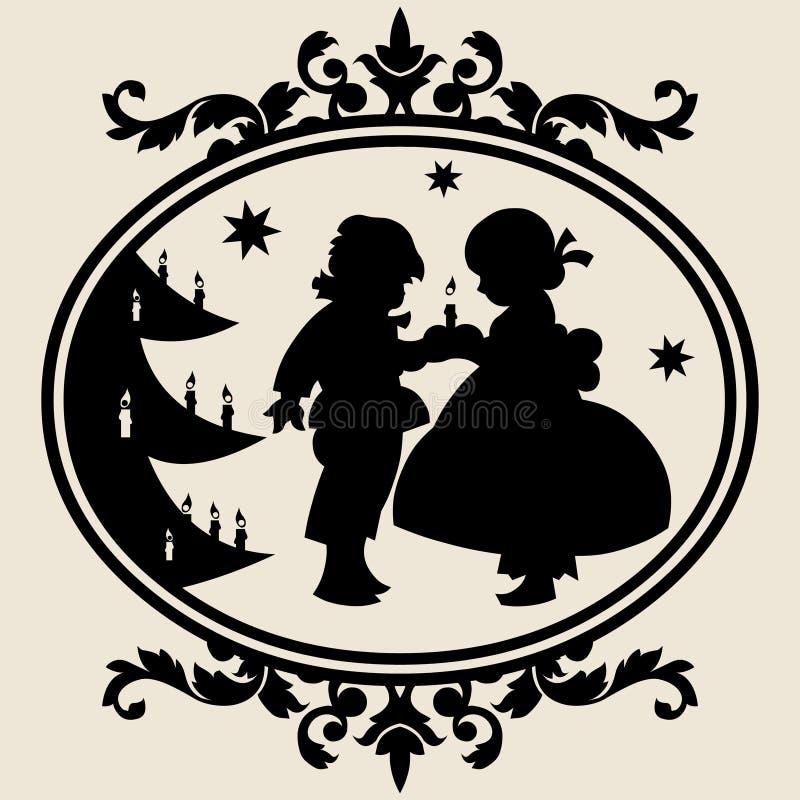 silhouettexmas royaltyfri illustrationer